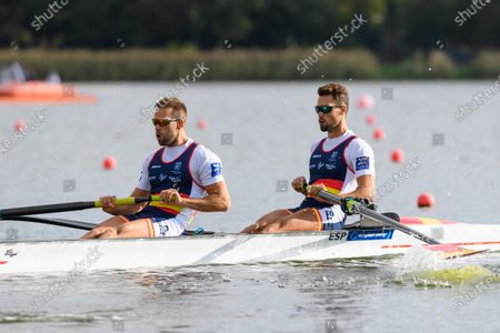 Jaime Canalejo Pazos and Javier Garcia Ordonez of Spain in action during the Men's Pair Heat race at the European Rowing Championshps 2020 in Poznan, Poland, 09 October 2020.