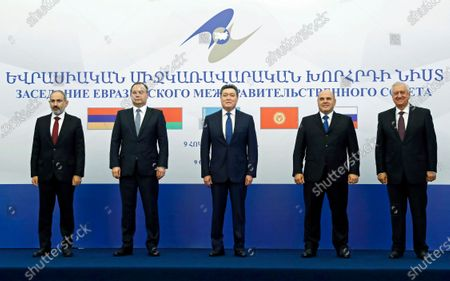 (L-R) Armenian Prime Minister Nikol Pashinyan, Belarusian Prime Minister Roman Golovchenko, Kazakh Prime Minister Askar Mamin, Russian Prime Minister Mikhail Mishustin and Chairman of the Eurasian Economic Commission's Board Mikhail Myasnikovich pose for a family photo before a meeting of the Eurasian Economic Union (EAEU or EEU) intergovernmental council in Yerevan, Armenia, 09 October 2020. The ongoing armed conflict in Nagorno Karabakh is expected to top the meeting's agenda. A military conflict continues since armed clashes erupted on 27 September 2020 in the simmering territorial conflict between Azerbaijan and Armenia over the Nagorno-Karabakh territory along the contact line of the self-proclaimed Nagorno-Karabakh Republic (also known as Artsakh).