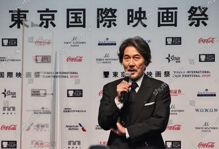Actor Koji Yakusho attends the press conference for the Tokyo International Film Festival 2020 in Tokyo, Japan.