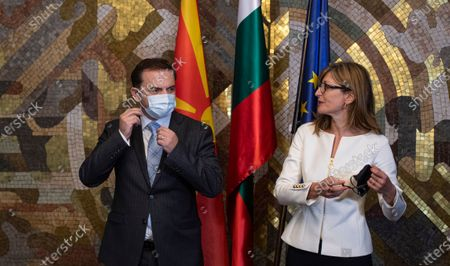 Bulgarian Foreign Minister Ekaterina Zaharieva (R) welcomes North Macedonia's Foreign Minister Bujar Osmani (L) in Sofia, Bulgaria, 09 October 2020. Osmani is on an official visit in Sofia.