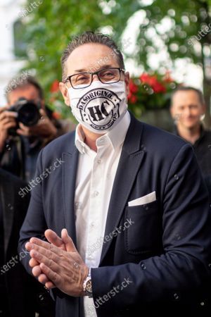 Heinz-Christian Strache, leader of Team HC Strache party, wearing a protective face mask arrives at a polling station to cast his absentee vote for the Vienna municipal and regional elections in Vienna, Austria, 09 October 2020. Former Austrian Vice Chancellor Heinz-Christian Strache performs with his Team HC Strache party in the upcoming Vienna municipal and regional elections, which will take place on 11 October 2020.
