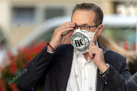 Heinz-Christian Strache, leader of Team HC Strache party, checks his protective face mask after casting his absentee vote for the Vienna municipal and regional elections at a polling station in Vienna, Austria, 09 October 2020. Former Austrian Vice Chancellor Heinz-Christian Strache performs with his Team HC Strache party in the upcoming Vienna municipal and regional elections, which will take place on 11 October 2020.