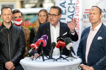 Heinz-Christian Strache, leader of Team HC Strache party, delivers a press statement after after casting his absentee vote for the Vienna municipal and regional elections at a polling station in Vienna, Austria, 09 October 2020. Former Austrian Vice Chancellor Heinz-Christian Strache performs with his Team HC Strache party in the upcoming Vienna municipal and regional elections, which will take place on 11 October 2020.