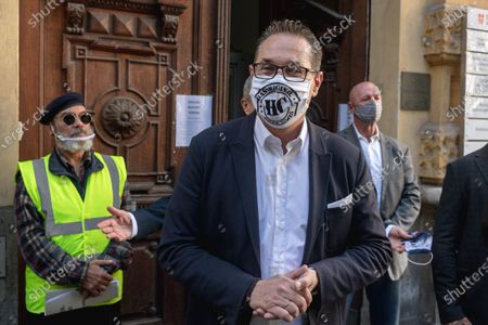 Stock Image of Heinz-Christian Strache, leader of Team HC Strache party, wearing a protective face mask leaves a polling station after casting his absentee vote for the Vienna municipal and regional elections in Vienna, Austria, 09 October 2020. Former Austrian Vice Chancellor Heinz-Christian Strache performs with his Team HC Strache party in the upcoming Vienna municipal and regional elections, which will take place on 11 October 2020.