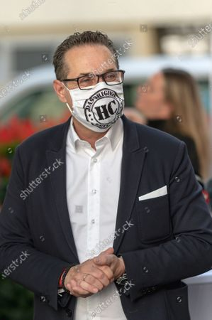 Stock Photo of Heinz-Christian Strache, leader of Team HC Strache party, wearing a protective face mask after casting his absentee vote for the Vienna municipal and regional elections at a polling station in Vienna, Austria, 09 October 2020. Former Austrian Vice Chancellor Heinz-Christian Strache performs with his Team HC Strache party in the upcoming Vienna municipal and regional elections, which will take place on 11 October 2020.