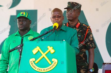 President of Tanzania John Magufuli (C) of the ruling party Chama Cha Mapinduzi (CCM) speaks to supporters during an election rally at the Benjamin Mkapa Stadium in Dar es Salaam, Tanzania 09 October 2020. President John Magufuli is seeking re-election for a second and final five year term in the 28 October general elections. Magufuli took office in November 2015 after succeeding former President Jakaya Kikwete.
