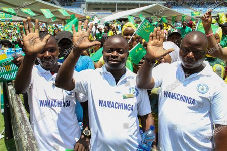 Supporters attend an election rally for Tanzania's ruling party Chama Cha Mapinduzi (CCM) at the Benjamin Mkapa Stadium in Dar es Salaam, Tanzania 09 October 2020. President John Magufuli is seeking re-election for a second and final five year term in the 28 October general elections. Magufuli took office in November 2015 after succeeding former President Jakaya Kikwete.