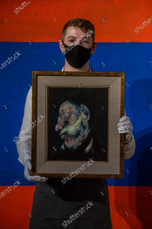 Stock Photo of Francis Bacon, Head of Man, 1959, est £4,000,000-6,000,000 with Günther Förg, Untitled, 1988, £300,000-500,000 - Christie's London preview of Post-War and Contemporary Art Evening Sale London which takes place on 22 October 2020.