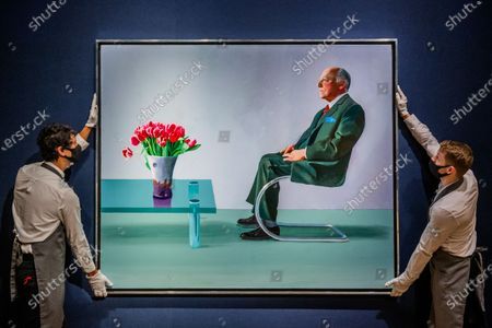 David Hockney, Portrait of Sir David Webster, Executed in 1971, est £11,000,000-18,000,000 - Christie's London preview of Post-War and Contemporary Art Evening Sale London which takes place on 22 October 2020.