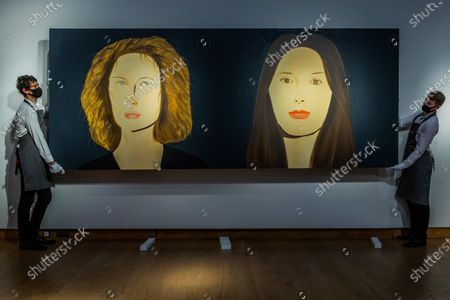 Stock Image of Alex Katz, Bettina and Marina, Painted in 2009, Est £400,000-600,000 - Christie's London preview of Post-War and Contemporary Art Evening Sale London which takes place on 22 October 2020.