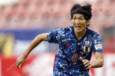 Genki Haraguchi of Japan in action during the international friendly soccer match between Japan and Cameroon at Stadion Galgenwaard in Utrecht, The Netherlands, 09 October 2020.