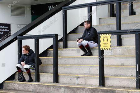 Sam Twiston-Davies and Richard Johnson social distancing at Chepstow.