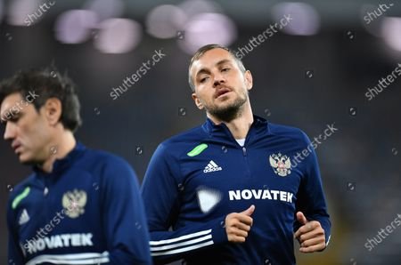 Artyom Dzyuba (right) and Yuri Zhirkov (left) of Russia before the match.October 08, 2020. Russia, Moscow