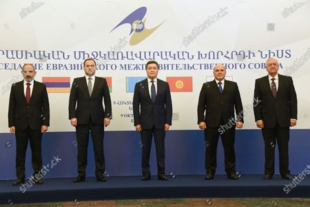 Working visit of Russian Prime Minister Mikhail Mishustin to Armenia. Left to right: Prime Minister of Armenia Nikol Pashinyan, Prime Minister of Belarus Roman Golovchenko, Prime Minister of Kazakhstan Askar Mamin, Prime Minister of Russia Mikhail Mishustin and Chairman of the Board of the Eurasian Economic Commission Mikhail Myasnikovich during a joint photographing ceremony before the meeting of Eurasian Intergovernmental Council of the Eurasian Economic Union (EAEU) countries in the Karen Demirchyan sports and concert complex.October 09, 2020. Armenia, Erevan