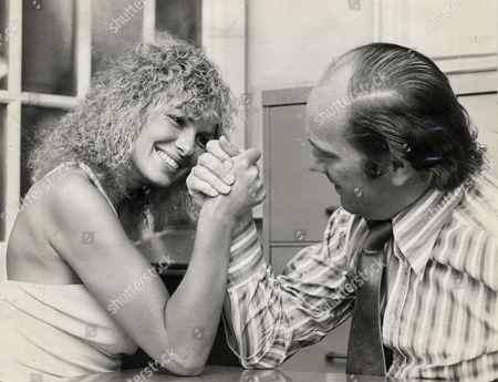 Actress Julie Ege (died April 2008) Pictured Arm Wrestling With Journalist Ian Wooldridge