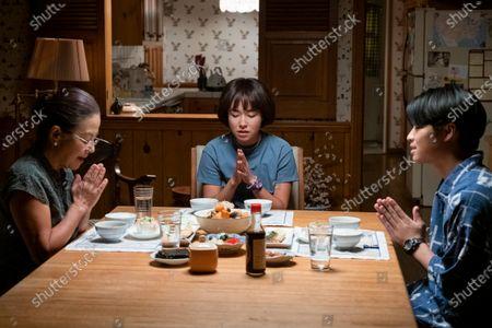 Mutsuko Erskine as Yuki Ishii-Peters, Maya Erskine as Maya Ishii-Peters and Dallas Liu as Shuji Ishii-Peters