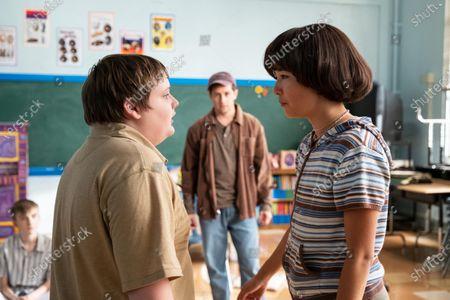 Dylan Gage as Gabe, Michael Angarano as Greg and Maya Erskine as Maya Ishii-Peters