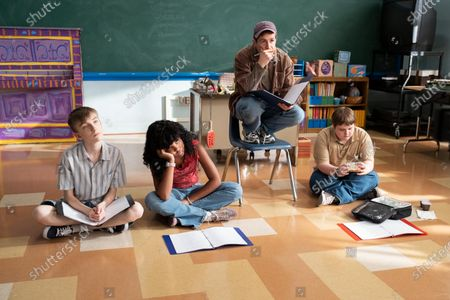 Stock Photo of Ivan Mallon as Ian, Jessica Pressley as Jessica, Michael Angarano as Greg and Dylan Gage as Gabe