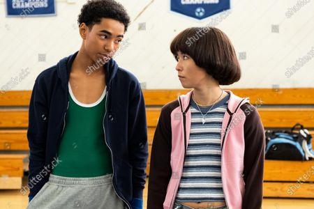 Isaac Edwards as Dustin and Maya Erskine as Maya Ishii-Peters