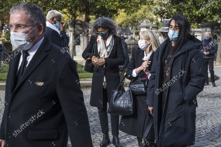 Relatives arrive to a ceremony for late Japanese fashion designer Kenzo Takada at a funeral chapel of the Pere Lachaise cemetery in Paris, France, 09 October 2020. Takada has died in a hospital in France on 04 October 2020 after suffering from Covid-19. He was 81.