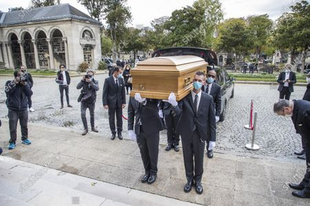Pallbearers carry the coffin of late Japanese fashion designer Kenzo Takada to a funeral chapel of the Pere Lachaise cemetery in Paris, France, 09 October 2020. Takada has died in a hospital in France on 04 October 2020 after suffering from Covid-19. He was 81.