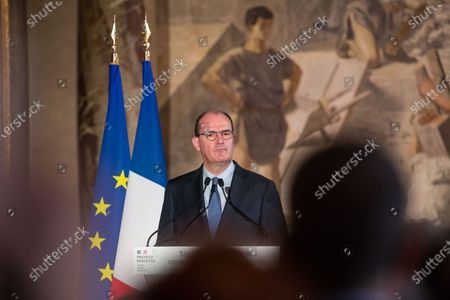 Stock Photo of Prime Minister Jean Castex and the mayor of Toulouse, Jean-Luc Moudenc, sign at the Capitole town hall the first integrated security contract in France. A device that will be extended to other metropolises. For this occasion the Prime Minister was accompanied by Jean-Michel Blanquer, Minister of National Education, Gerald Darmanin, Minister of the Interior, and Eric Dupond-Moretti, Keeper of the Seals.
