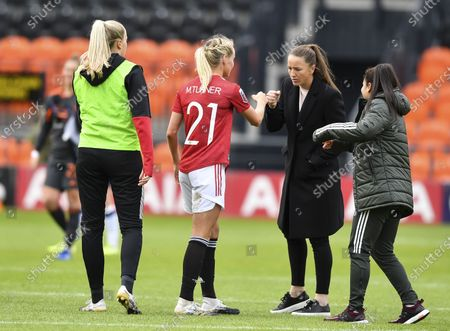 Millie Turner of Manchester United Women and Casey Stoney manager of Manchester United Women at full time