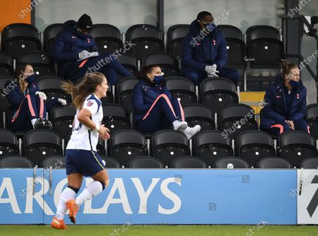 Alex Morgan of Tottenham Hotspur Women sits in the stands