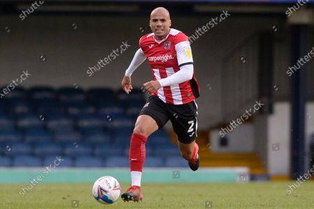 Jake Caprice of Exeter City in action during Sky Bet League Two match between Southend United and Exeter City at Roots Hall in Southend, UK - 10th October 2020
