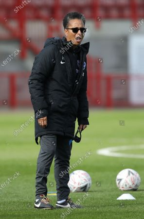 Brighton's Manager Hope Powell during the Barclays FA Women's Super League match between Brighton & Hove Albion Women and Arsenal  Women at the People's Pension Stadium in Crawley. 11 October 2020