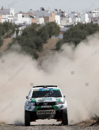 Stock Photo of Portuguese driver Paulo Ferreira and co-driver Jorge Monteiro participate during the third stage of Rally Andalucia 2020 race in Arahal, Andalusia, southern Spain, 09 October 2020. The Rally Andalucia 2020 race runs until 10 October.
