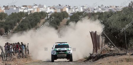 Stock Image of Portuguese driver Paulo Ferreira and co-driver Jorge Monteiro participate during the third stage of Rally Andalucia 2020 race in Arahal, Andalusia, southern Spain, 09 October 2020. The Rally Andalucia 2020 race runs until 10 October.