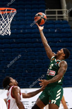 Marcus Foster (R) of Panathinaikos in action during the Euroleague Basketball match between Olympiacos Piraeus and Panathinaikos at the OAKA Stadium in Athens, Greece, 09 October 2020.