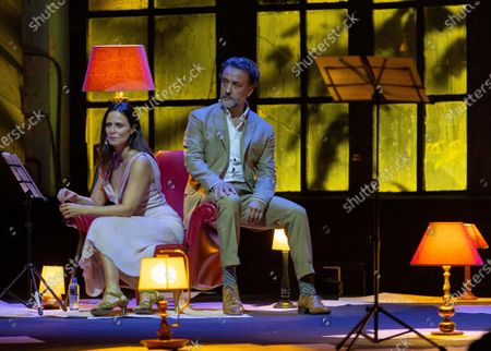 Aitana Sanchez-Gijon (L) and actor Jose Luis Garcia (R) perform during the poetic recital 'The beauty of the husband' in the framework of the 'Awards Week' of the Princesa de Asturias Foundation in Oviedo, northern Spain, 09 October 2020.