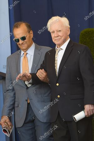 Stock Image of **FILE PHOTO** Hall of Fame members Joe Torre and Whitey Ford attends the National Baseball Hall of Fame  Induction Ceremony at Clark Sports Center on July 30, 2017 during the Induction Weekend in Cooperstown, New York.