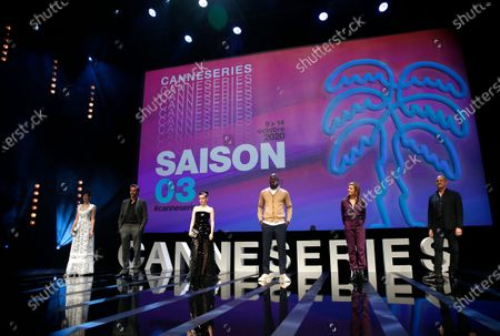 Canneseries jury members French actress Laetitia Eido, French actor Gregory Fitoussi, French actress Roxane Mesquida, French actor Jean-Pascal Zadi, French actress Caroline Proust and US composer Randy Kerber attend the opening ceremony of the Cannes Series Festival in Cannes, France, 09 October 2020. The event runs from 09 to 14 October.