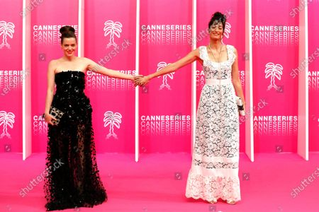 Canneseries jury members French actress Roxane Mesquida (L) and French actres Laetitia Eido (R) pose on the pink carpet before the opening ceremony of the Cannes Series Festival in Cannes, France, 09 October 2020. The event runs from 09 to 14 October.