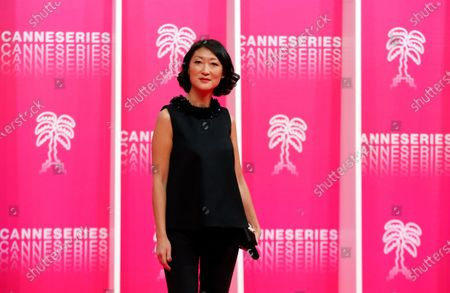 Canneseries president and former French Minister Fleur Pellerin poses on the pink carpet before the opening ceremony of the Cannes Series Festival in Cannes, France, 09 October 2020. The event runs from 09 to 14 October.