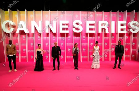 Canneseries jury members French actor Jean-Pascal Zadi, French actress Roxane Mesquida, US composer Randy Kerber, French actress Caroline Proust, French actress Laetitia Eido and French actor Gregory Fitoussi attend the opening ceremony of the Cannes Series Festival in Cannes, France, 09 October 2020. The event runs from 09 to 14 October.