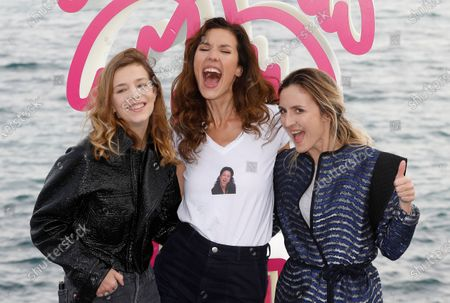 Celine Sallette (L), French actress Doria Tillier (C) and French actress Camille Chamoux (R) pose during a photocall for the TV series 'La Flamme' at the Cannes Series Festival in Cannes, France, 09 October 2020. The event runs from 09 to 14 October.