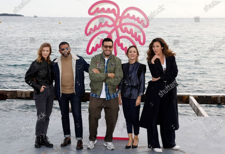 Celine Sallette, French actor Youssef Hajdi, French actor Jonathan Cohen, French actress Camille Chamoux and French actress Doria Tillier pose during a photocall for the TV series 'La Flamme' at the Cannes Series Festival in Cannes, France, 09 October 2020. The event runs from 09 to 14 October.