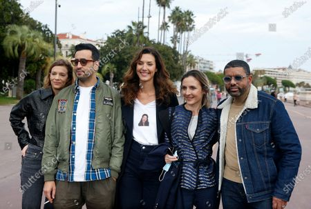 Celine Sallette, French actor Jonathan Cohen, French actress Doria Tillier, French actress Camille Chamoux and French actor Youssef Hajdi pose during a photocall for the TV series 'La Flamme' at the Cannes Series Festival in Cannes, France, 09 October 2020. The event runs from 09 to 14 October.