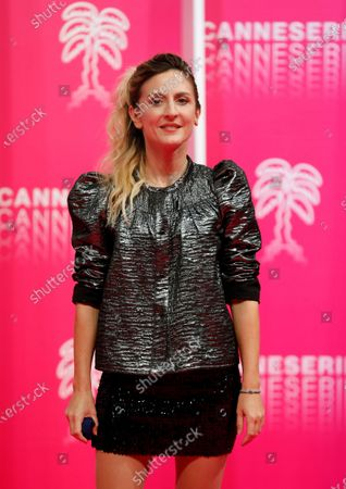 Camille Chamoux poses on the pink carpet before the opening ceremony of the Cannes Series Festival in Cannes, France, 09 October 2020. The event runs from 09 to 14 October.