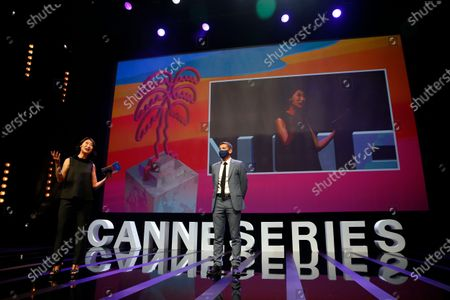 Canneseries president and former French Minister Fleur Pellerin (L) and Mayor of Cannes, David Lisnard (R) attend the opening ceremony of the Cannes Series Festival in Cannes, France, 09 October 2020. The event runs from 09 to 14 October.