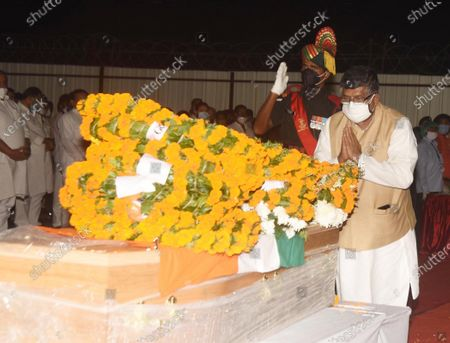 Union Minister Ravi Shankar Prasad pays tribute to the mortal remains of former Union Minister and Lok Janshakti Party leader Ram Vilas Paswan, at Patna Airport on October 9, 2020 in Patna, India.