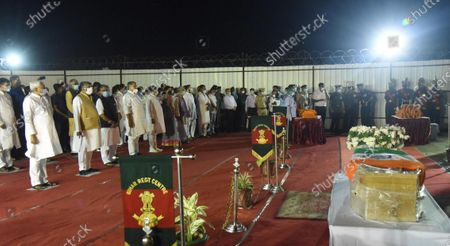 Bihar Chief Minister Nitish Kumar, Union Ministers Ravi Shankar Prasad, Nityanand Rai, Deputy Chief Minister Sushil Kumar Modi and others after paying tribute to the mortal remains of former Union Minister and Lok Janshakti Party leader Ram Vilas Paswan, at Patna Airport on October 9, 2020 in Patna, India.