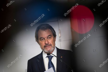 Artur Mas speaks to the media in Perpignan, southern France, . Carles Puigdemont, Artur Mas, and Quim Torra, three former separatist-minded presidents of Spain's Catalonia region, hold a press conference in Perpignan, France, to denounce what they consider their unfair treatment by Spanish authorities