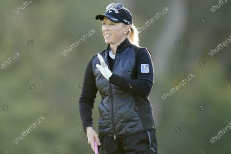 Morgan Pressel waves on the 10th hole during the second round of the KPMG Women's PGA Championship golf tournament at the Aronimink Golf Club, in Newtown Square, Pa