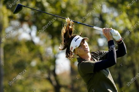 Stock Photo of Klara Spilkova, of the Czech Republic, watches her tee shot on the second hole during the second round of the KPMG Women's PGA Championship golf tournament at the Aronimink Golf Club, in Newtown Square, Pa