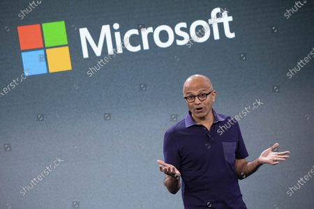 Microsoft CEO Satya Nadella talks during a company event in New York. Nadella said in June 2020 that the tech company would double the number of Black and African American managers, senior individual contributors and senior leaders by 2025